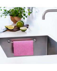 Hang your dishcloth in the kitchen sink. 