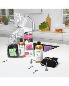 Økologisk Gavesæt / Karkludholder Stål + 3 karklude + øko. opvaskermiddel