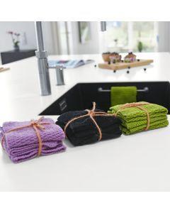 Organic Knitted Dishcloth (3 pcs) - black
