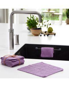 Organic Knitted Dishcloth (3 pcs) - purple