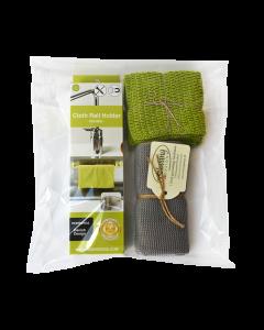 Indpakket gavesæt med fleksibel og magnetisk karkludholder, 3 karklude og 1 håndklæde fra Solwang Design