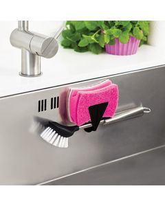 Magnetic kitchen sponge and dish brush holder for mounting in the sink without use of any tools.